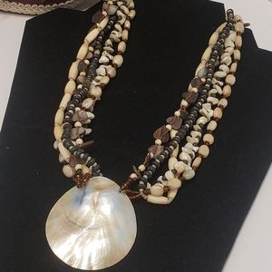 Unique Vintage Shell & Beaded Necklace
